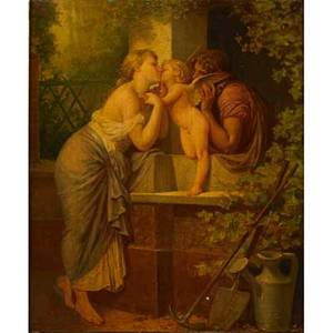 Henri pierre picou french 18241895 oil on canvas of cupid and a young couple 1882 framed signed and dated 24 x 20