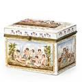Capodimonte porcelain velvet lined jewelry box 19th c 5 34 x 7 34 x 5 58