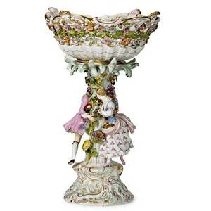 Meissen porcelain porcelain figural footed compote with applied floral decoration 19th20th c crossed swords mark 19 x 14 x 11 12