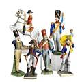 Military porcelain figures six of french or german officers 20th c various german and austrian marks largest 11 x 8 12 x 3 14