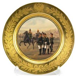 Alexander iii imperial russian porcelain plate military scene the russian imperial eagle within the gilded border period of alexander iii late 19th c mark of imperial porcelain manufactory st