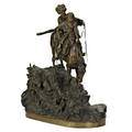 Vasili grachev russian 18311905 bronze of a mounted cossack with a woman late 19th c woerffel foundry mark 13 34 x 11 x 6