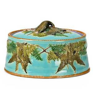 English majolica game dish covered with quail on lid and sides 19th c 6 x 9 12 x 6 34
