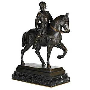 19th c equestrian bronze sculpture after the model by andrea del verrocchio on marble plinth probably italian stamped verrocchio 1480 28 x 20 12 x 10 with plinth