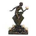 Art deco bronze and marble figure female dancer mounted on a marble plinth early 20th c signed z kovats 26 x 15 34 x 5