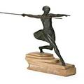 Bronze art deco sculpture female athlete with javelin on marble base early 20th c illegibly stamped 19 12 x 3 34 excluding spear