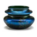 Tiffany studios squat blue favrile glass vase in feather pattern new york 1901 etched o6787 2 34 x 4