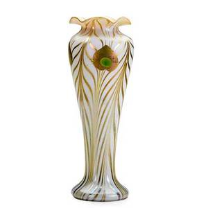 Steuben fine and tall aurene glass vase with peacock feathers corning ny ca 1905 etched aurene 273 12 12 x 4 12