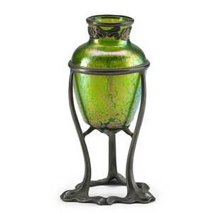 Loetz iridescent glass vase in floriform pewter stand austria ca 1900 unmarked 7 14 x 3 12