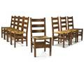 Gustav stickley set of eight ladderback side chairs eastwood ny ca 1904 black decals to all 35 34 x 17 x 16 12