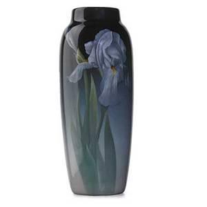 Carl schmidt rookwood fine iris glaze vase with irises cincinnati oh 1909 flame mark ix807d artists cipher original paper label and price tag 10 12 x 4