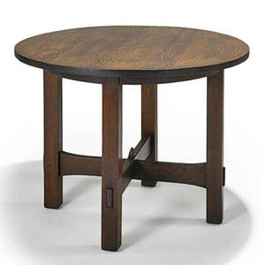 Gustav stickley early occasional table with stacked trumpet stretchers eastwood ny ca 1902 unsigned 30 x 39 12