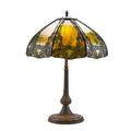 Handel table lamp its faceted shade with enameled overlay of leaves meriden ct 1910s green slag glass patinated metal three sockets shade stamped handel patent applied 23 x 16