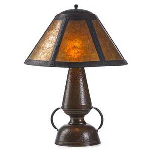 California lighting table lamp california ca 1920 hammered copper mica two sockets unmarked 21 12 x 16