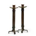Roycroft pair of hammeredcopper strap candlesticks east aurora ny 19101915 orb and cross mark 12 12 x 4 12 sq