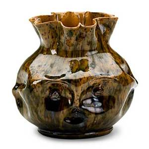 George ohr rare pinched face vase green brown and amber speckled glaze biloxi ms 189597 stamped geo e ohr biloxi miss 4 x 4 12 published ellison george ohr art potter pl 30