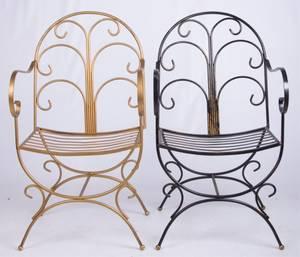 Modern Iron Savonarola Style Chairs Pair 2