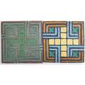 Grueby two architectural tiles with geometric pattern boson ca 1915 green tile stamped grueby boston 5635 1 x 8 sq