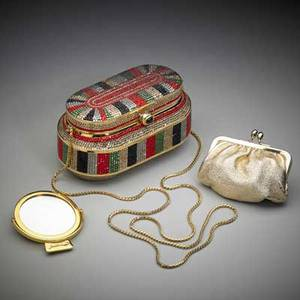 Judith leiber art deco style minaudiere odeonesque box with crystal bands in art deco color palette gold leather interior gilt dropchain purse and mirror with dust bag 3 x 5 34 x 2 12
