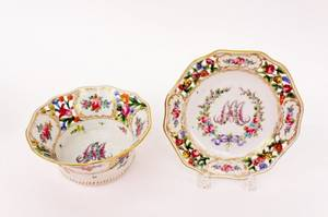 Two Dresden Floral Decorated Dishes