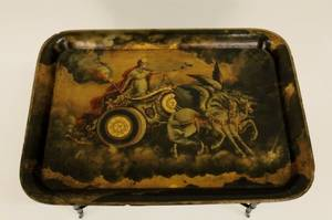 Black Lacquered Tray wClassical Scene on Stand