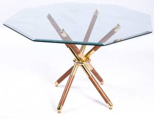 MidCentury Octagonal Glass Top Dining Table