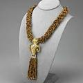 Rams head gold tigers eye necklace ca 1975 braided tigers eye and gold bead torsade 20 suspends detachable sculpted 18k gold rams head can be worn as pendant 5 12 tassel can be detache