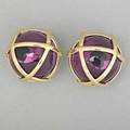 Verdura 18k gold caged amethyst ear clips semispherical form in yg clip backs for unpierced ears 185 dwt 282 gs 22 mm