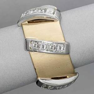 Seaman schepps 14k gold platinum diamond band bright yellow gold band six arched platinum ribs channel set with square baguette cut diamonds approx 240 cts tw ca 1960 marked schepps 83 dwt