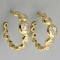 Ippolita dazzling 18k gold diamond earrings open hoops of sculptural gold bubbles set with rose cut and brilliant cut diamonds approx 160 cts tw 82 dwt 128 gs 1