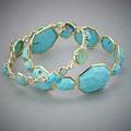 Two ippolita 18k gold turquoise bangles large hero bangle with faceted turquoise rock candy gelato kiss with turquoise and quartz doublets blue and colorless quartz 364 dwt 567 gs
