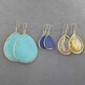 Ippolita 18k gold teardrop pendant earrings three pairs large teardrop turquoise and diamonds 2 18 medium teardrops with diamonds in dawn motherofpearl quartz doublets 1 34 mini teardrops