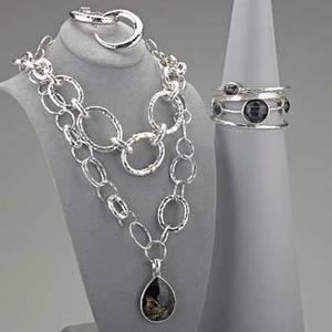 Collection of ippolita silver jewelry ten bold pieces include glamazon graduated link necklace with two diamond pave stations 18 12 glamazon mixed link necklace with large teardrop quartz double