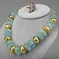 Gold gemstone indian jewelry jaipur melon carved aquamarine and goldcovered bead necklace 18 14k gold asymmetric ring with precious gems diamonds and enamel size 9 34 ring only 62 dwt 97