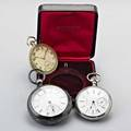 Three pocket watches 18711915 bw raymond by national watch co 180161 coin silver of 56 mm international watch co 18k yg of retailed by wm wise  son brooklyn 45 mm 727112 21 jewel