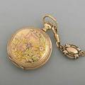 Tricolor gold diamond pendant watch 1896 hunt case with aesthetic bird flower and star set diamond cover floral obverse gilt porcelain dial and gold breguet hands american waltham 7485148 14k