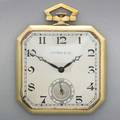 Tiffany  co gold pocket watch by paul ditisheim thin square canted watch silver face with black roman numerals sub seconds 19 jewels 6 adj ditsheim swiss movement 716226 18k yg of case b