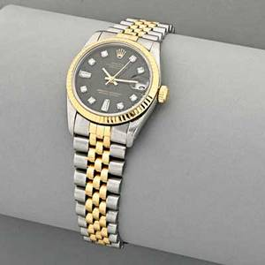 Ladies rolex oyster perpetual twotone watch black face with diamond markers date at 300 position center seconds autowind stainless steel and 18k gold jubilee bracelet 62523 hd 18 30 mm ca 1