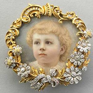 Frank walter lawrence portrait jewel ca 1895 carved 18k gold in the rococo style with rose cut diamonds in platinum ribbontied aster blossoms frames a glazepainted portrait ivory of a young child