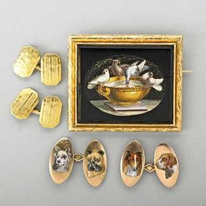 Tiffany  co and other gold jewelry 19th20th c tiffany  co hammered and pinstripped 18k gold double cuff links 10k gold and enameled dogs double cuff links fine micromosaic brooch doves of