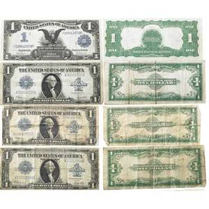 Us currency nine pcs 2 fr 914 10 frn 1 fr 915c 10 frn 1 fr 923 10 frn 1 fr 854 5 frn 3 fr 237 1 silver dollar note 1 fr 232 1 silver certificate ef40
