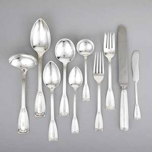 Tiffany  co castilian silver flatware introduced in 1929 seventynine pieces 11 forks 7 8 cakesalad forks 6 58 8 cream soup spoons 6 34 8 oval soup spoons 7 8 consomme