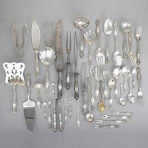 Frontenac silver assembled flatware service simpson hall  miller international silver co eleven piece partial service for twelve with extras and fortyone serving utensils 18 forks 7 12 1