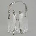 Georg jensen silver handled ice bucket and tongs cut cylindrical crystal and silver ice bucket 1137 designed by johan rhode and acorn tongs postwar production 7 12
