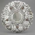 Italian jeweled silver centerpiece 19341944 cesare zucchetti bologna maker 21 milano deeply raised and chased rococo scroll and shell applied shields with carnelian cabochons incised florent