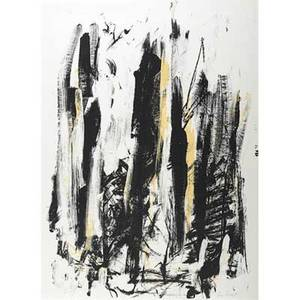 Joan mitchell american 19261992 arbes black and yellow 1991 lithograph in colors framed signed and numbered 89125 30 x 22 18 sheet provenance private collection england