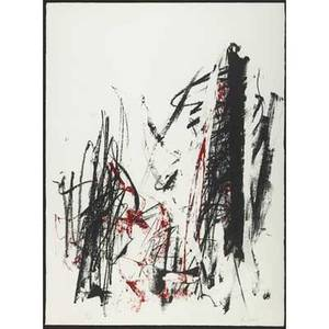 Joan mitchell american 19261992 arbes black and red 1991 lithograph in colors framed signed and numbered 55125 30 x 22 18 sheet provenance private collection