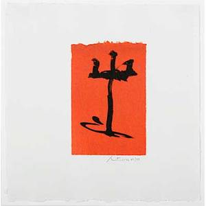 Robert motherwell american 19151991 gypsy curse 1983 lithograph on red chine appliqu framed signed and numbered 7598 15 14 x 14 78 sheet publisher tyler graphics ltd new york