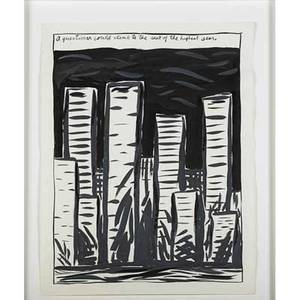 Raymond pettibon american b 1957 untitled a question could climb to the seat of the highest seer 1987 ink on paper framed signed and dated 23 58 x 18 sheet provenance private col
