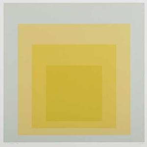 Josef albers americangerman 18881976 two works of art birthday pair 1973 screenprints in colors framed separately signed and numbered 64100 28 x 28 sheet each provenance private co